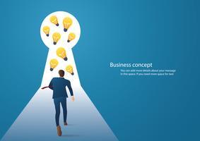 infographic Geschäftskonzeptillustration eines Geschäftsmannes, der in Schlüsselloch mit hellem Licht geht