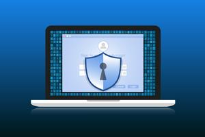 Conceito é segurança de dados. O escudo no Labtop protege os dados confidenciais. Segurança da Internet. Ilustração vetorial.