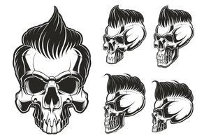 Set of skulls with hair vector