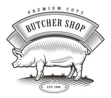 Butcher shop vintage emblem.