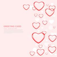 Happy valentine's day love Greeting Card  With Red Heart on Pink  background, Vector Design