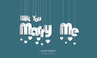 Heiraten Sie mich Text mit Paper Cut-Stil auf grünem Hintergrund für Sie Design. Vektor-Illustration