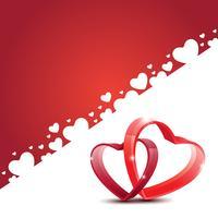 Schöne glückliche Valentinstagliebe Grußkarte mit rotem Herzen. Vektor