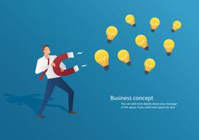 infographic business concept businessman attracting light bulbs with a large magnet vector illustration