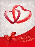 Entwerfen Sie für glückliche Valentinstag-Grußkarte mit rotem Herzen auf abtract Hintergrund, Vektor