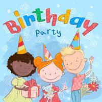 Cartel de lindos niños con regalos. Dibujo a mano. Estilo de dibujos animados de ilustración vectorial