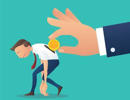 hand holding coin inserting into back of businessman, business concept of pay salary vector illustration