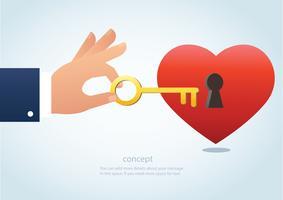 mano sosteniendo la llave grande con ojo de la cerradura en la ilustración de vector de corazón rojo