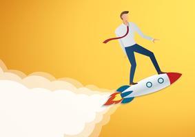Erfolg im Geschäft beginnen oben Geschäftsmann auf Raketenvektorillustration