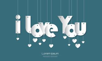 I love You text with Paper Cut style on  green background for you design. vector illustration