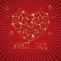 Happy valentine's day love Greeting Card  With Gold  Heart on Red background, Vector Design
