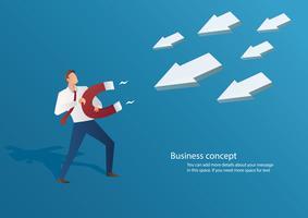 empresario de concepto de negocio atraer icono de flecha con una ilustración de vector de imán grande