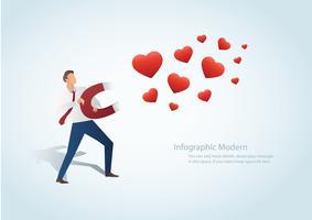Hombre de infografía atraer el corazón con una ilustración de vector de imán grande