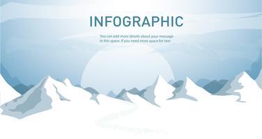 illustrazione blu di vettore del fondo del paesaggio della montagna della neve