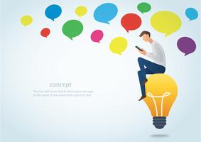 man holding a smartphone sitting on the lightbulb with colorful could chat box vector