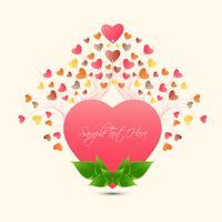 Il cuore pieno di colore della cartolina d'auguri di amore felice di San Valentino si sviluppa da grande cuore, progettazione di vettore