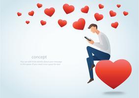 Mann, der einen Smartphone sitzt auf dem roten Herzen und vielen Herzvektorillustration hält