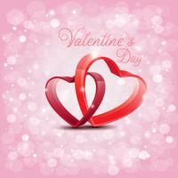 Design for Valentine's Day with Red Heart cross on Abtract background, Vector illustration