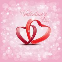 Entwerfen Sie für Valentinstag mit rotem Herzkreuz auf Abtract-Hintergrund, Vektorillustration