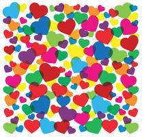 ilustração em vetor fundo colorido corações