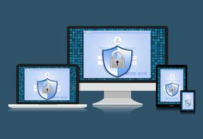 Conceito é segurança de dados. Escudo no computador, laptop, tablet e telefone inteligente proteger dados confidenciais. Segurança da Internet. Ilustração vetorial.