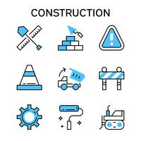 Flat line icons with blue color for construction, house building, project, and development