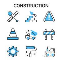 Iconos de línea plana con color azul para construcción, construcción de viviendas, proyecto y desarrollo
