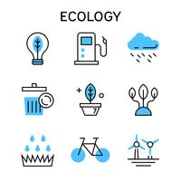 Flat line icons with blue color for ecology, eco friendly concept, eco environment, future preparation and better world