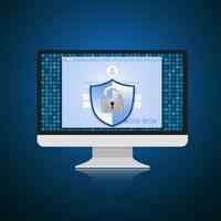 Conceito é segurança de dados. Escudo no computador proteger dados confidenciais. Segurança da Internet. Ilustração vetorial.