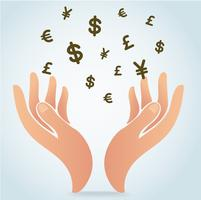 hand holding money symbol icon vector, business concept  vector