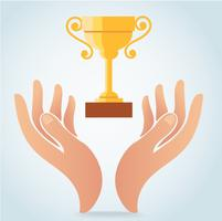 hand holding champion cup vector, victory logo concept