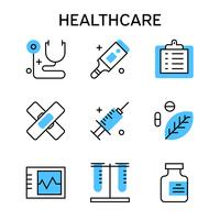 Flat line icons with blue color for healthcare, medical, nursing, hospital, etc