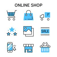 Flat line icons with blue color for online shopping, e-commerce, marketplace, shopping platform, website, and application