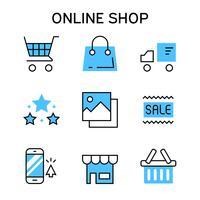 Flache Linie Ikonen mit blauer Farbe für das on-line-Einkaufen, den elektronischen Geschäftsverkehr, den Marktplatz, die Einkaufsplattform, die Website und die Anwendung
