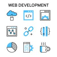 Flat line icons with blue color for web development, debugging and networking vector