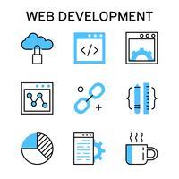 Iconos de línea plana con color azul para desarrollo web, depuración y redes