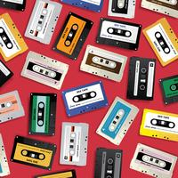 Vintage Retro Cassette Tape Pattern Design Template Vector Illustration
