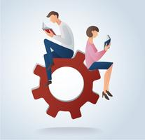 man and woman reading books on gears icon, concept of education vector illustration