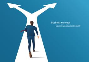 businessman running on crossroads and making choice vector. business concept illustration
