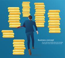 Hombre de negocios infografía corriendo en el camino con el vector de monedas. Ilustración del concepto de negocio