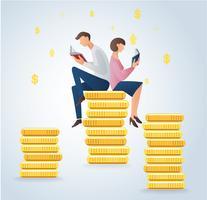 libri di lettura della donna e dell'uomo sulle monete, illustrazione di vettore di concetto di affari