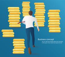 uomo d'affari infografica in esecuzione sulla strada con il vettore di monete. illustrazione del concetto di business