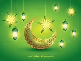 Islamic crescent moon and lanterns