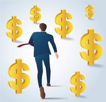 Hombre de negocios que se ejecuta con el vector de monedas de dólar. Ilustración del concepto de negocio