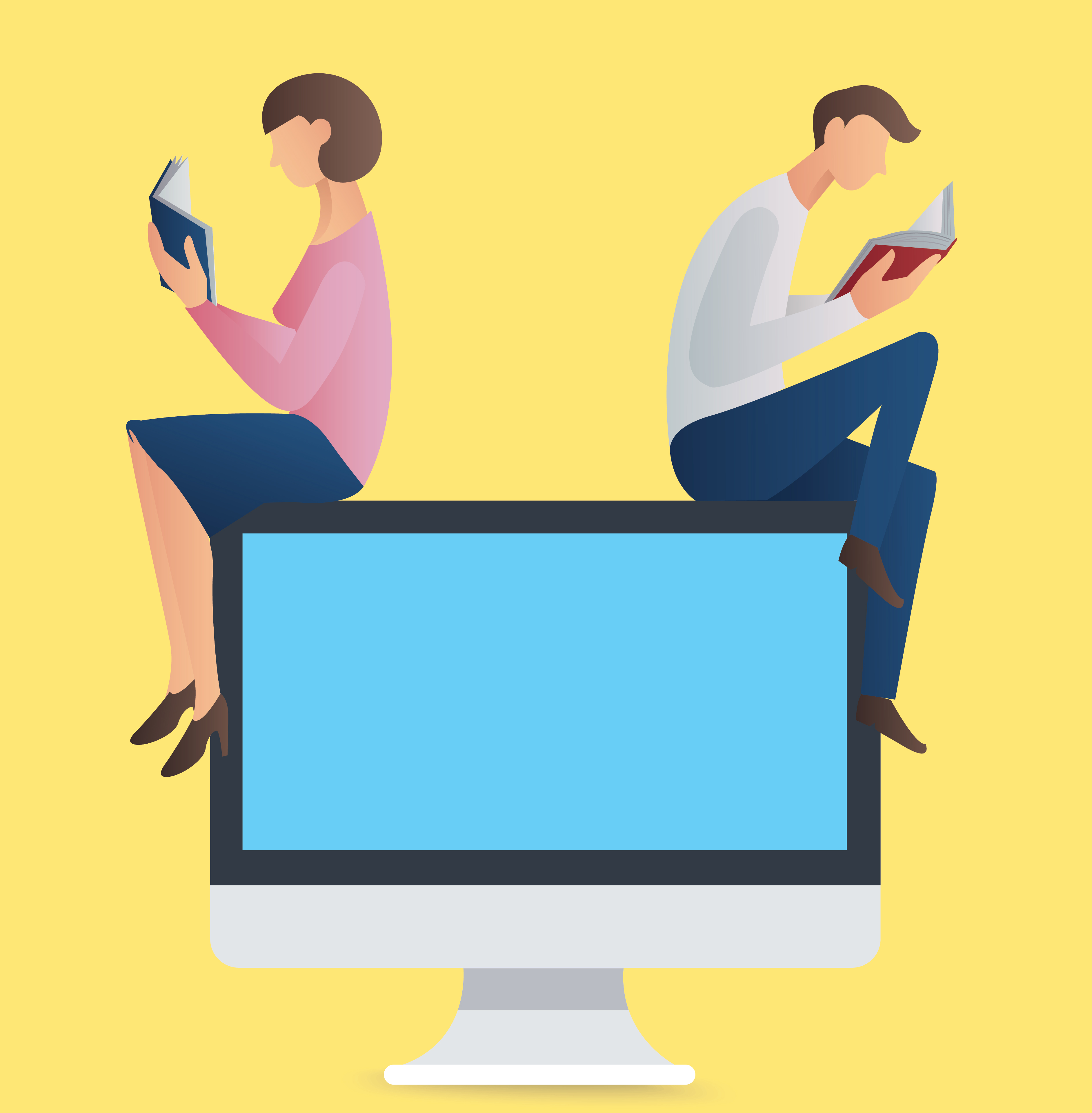 Man And Woman Reading Book Sitting On A Computer Vector