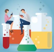 Hombre y mujer leyendo libro sentado en cristalería para ilustración química del vector
