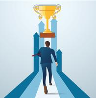 businessman running to the gold trophy. concept of business successful vector illustration