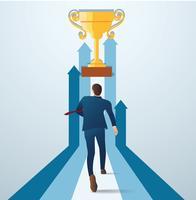 zakenman loopt naar de gouden trofee. concept van zakelijke succesvolle vectorillustratie