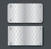 plate metal banner set background vector illustration