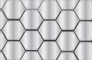 placa hexágono de metal e ilustração vetorial de fundo preto